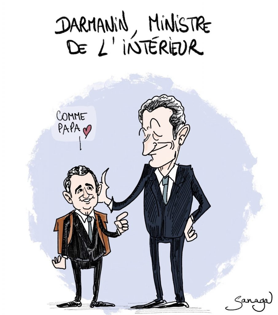 dessin d'actualité de Sanaga sur la nomination de Gérald Darmanin au ministère de l'Intérieur