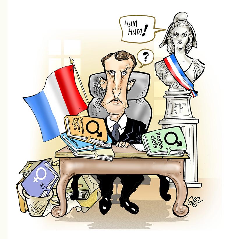 dessin humoristique de Glez sur les promesses d'Emmanuel Macron aux femmes