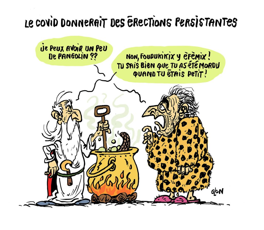 dessin humoristique de Glon sur DSK, le coronavirus et les troubles de l'érection associés