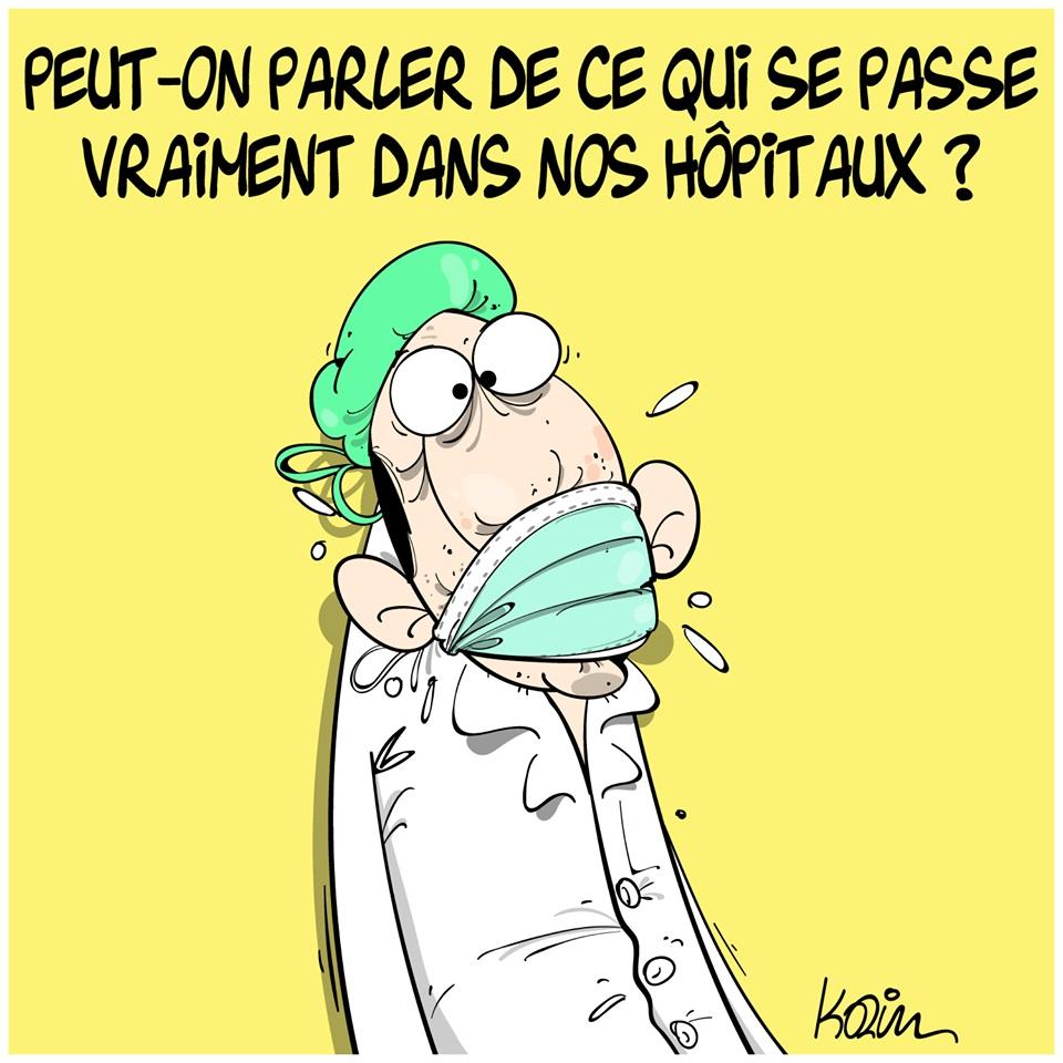 dessin d'actualité humoristique de Karim sur les hôpitaux face à la progression du coronavirus