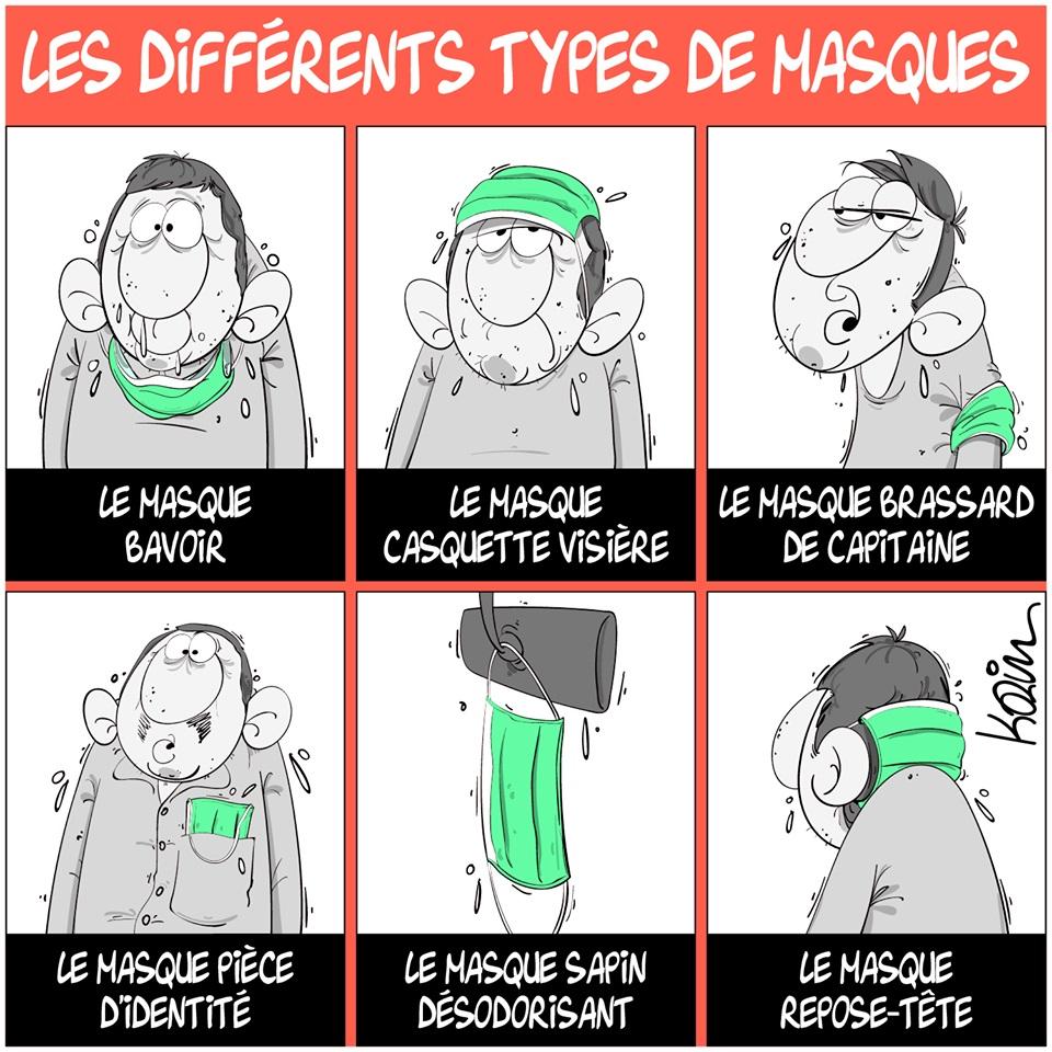 dessin d'actualité humoristique de Karim sur le coronavirus et le port du masque de protection