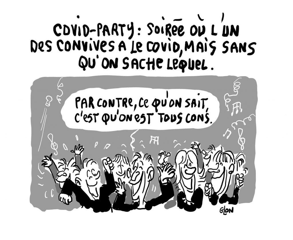 dessin humoristique de Glon sur le coronavirus et les soirées covid aux États-Unis