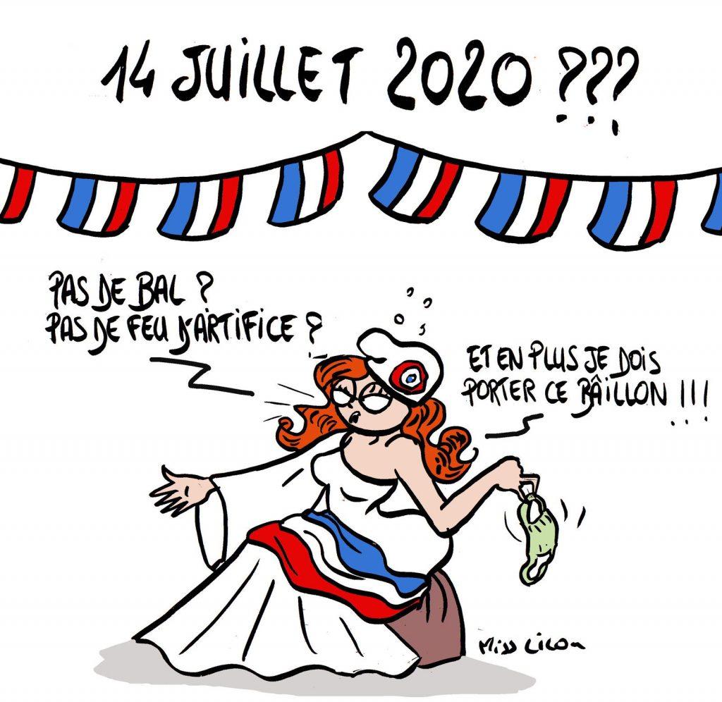 dessin de Miss Lilou sur l'annulation des festivités du 14 juillet 2020