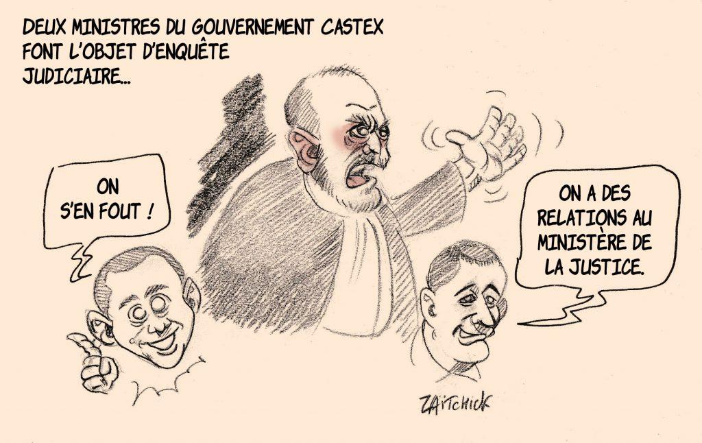 dessin de Zaïtchick sur Gérald Darmanin et Olivier Dussopt, les enquêtes judiciaires et Éric Dupond-Moretti