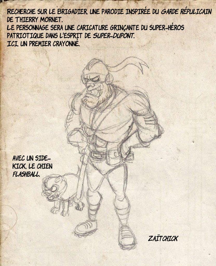 dessin de Zaïtchick sur le Brigadier, parodie du Garde Républicain