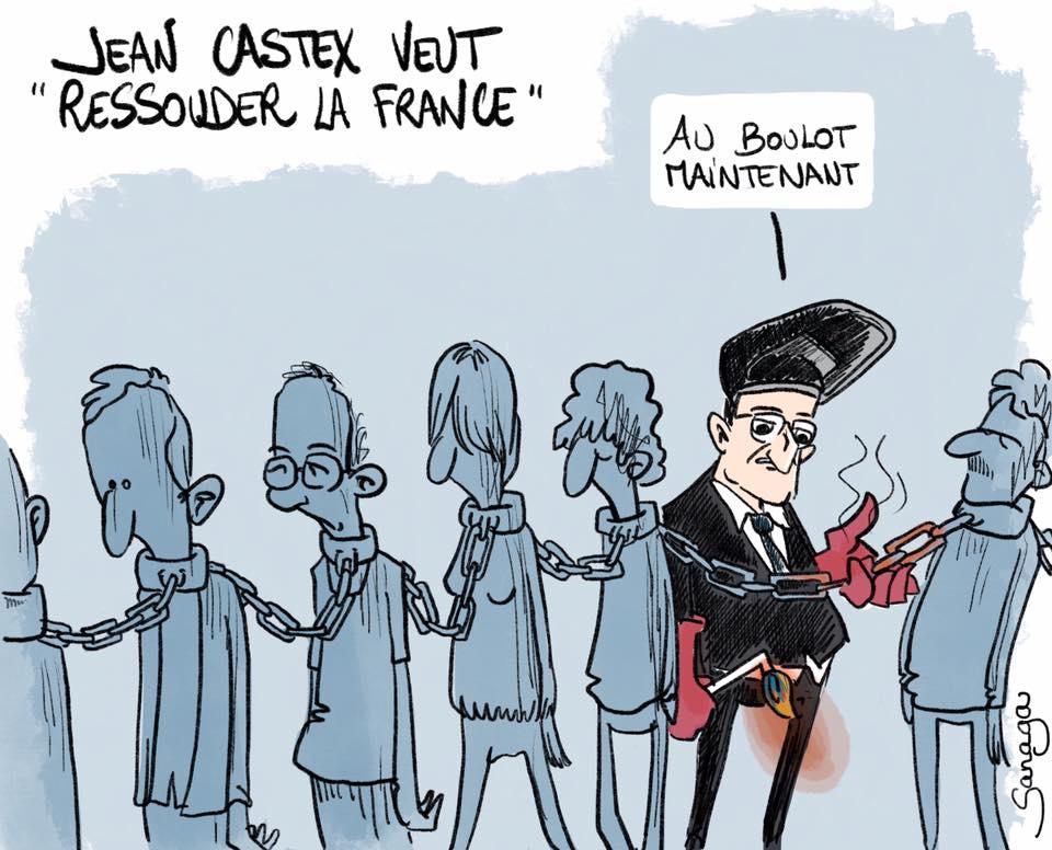 dessin d'actualité de Sanaga sur la volonté de Jean Castex de ressouder la France