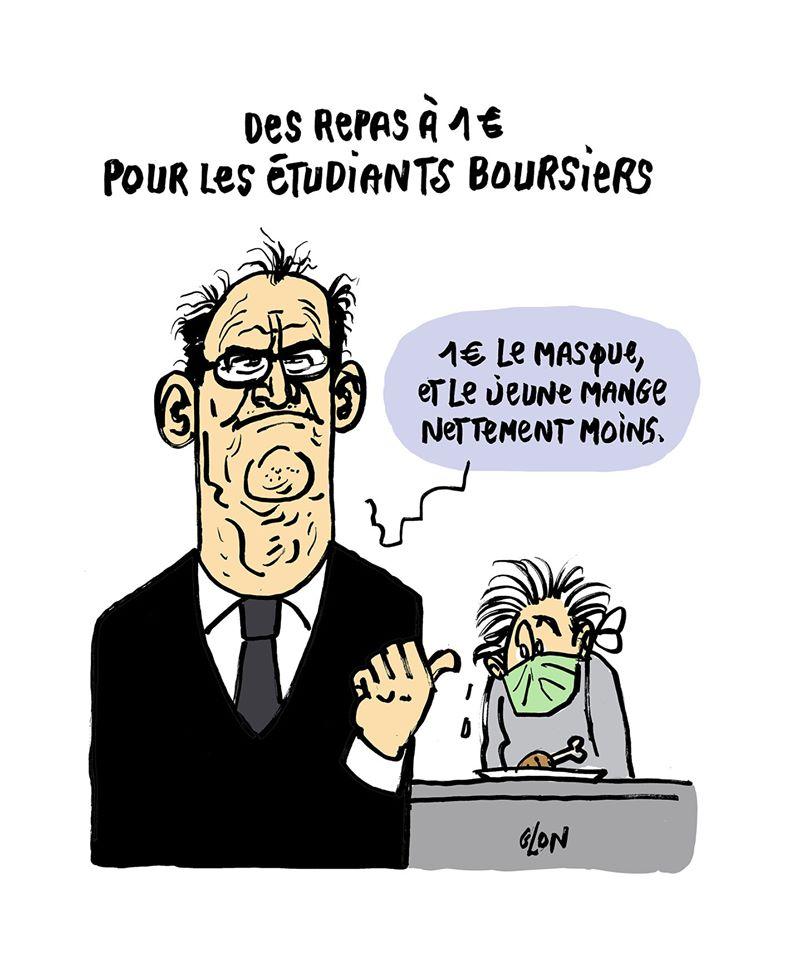 dessin humoristique de Glon sur Jean Castex et sa proposition des repas à 1€ pour les étudiants boursiers
