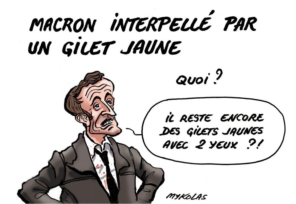 dessin d'actualité humoristique de Mykolas sur l'interpellation d'Emmanuel Macron par un gilet jaune au Jardin des Tuileries le 14 juillet