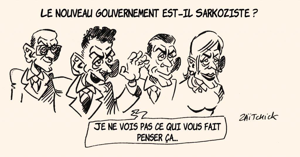dessin de Zaïtchick sur le gouvernement Castex et son orientation sarkozyste