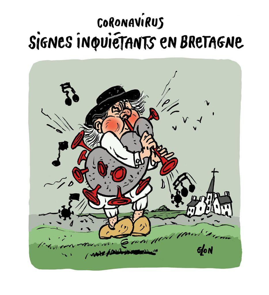 dessin humoristique de Glon sur la reprise de l'épidémie en Bretagne