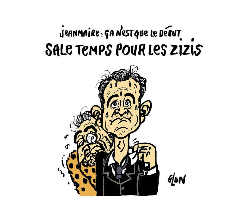 dessin humoristique de Glon sur Gérald Darmanin, Dominique Strauss-Kahn et la disparition de Zizi Jeanmaire