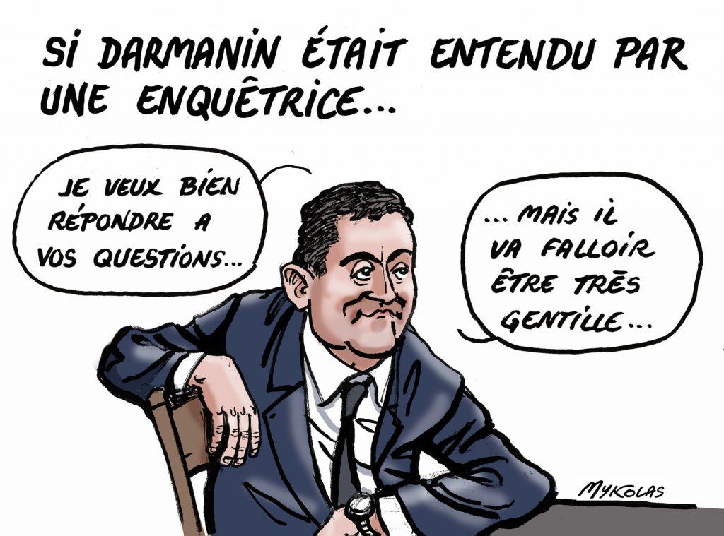 dessin d'actualité humoristique de Mykolas sur Gérald Darmanin, les faveurs sexuelles et l'enquête pour viol