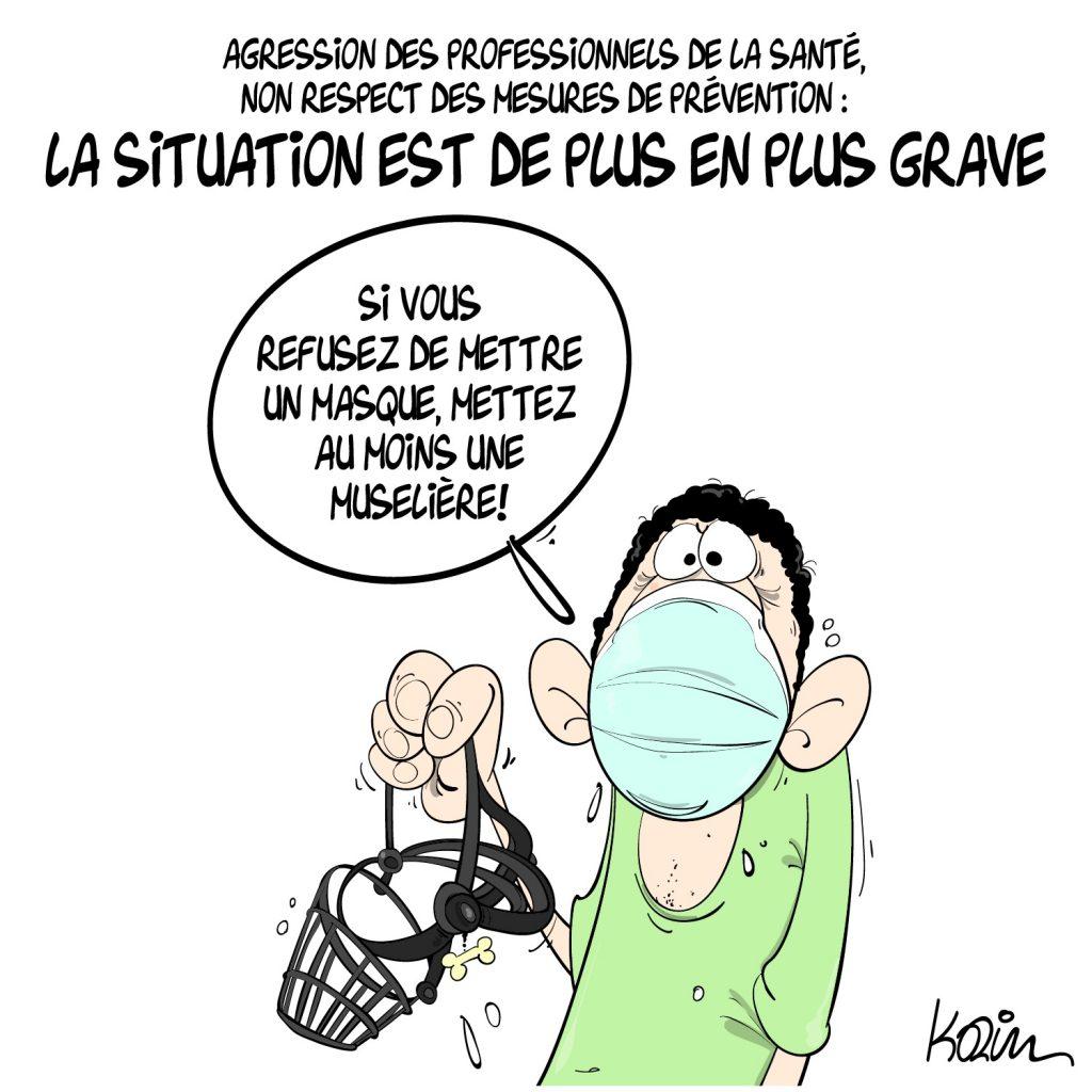 dessin actualité humoristique image drôle coronavirus masque soignants