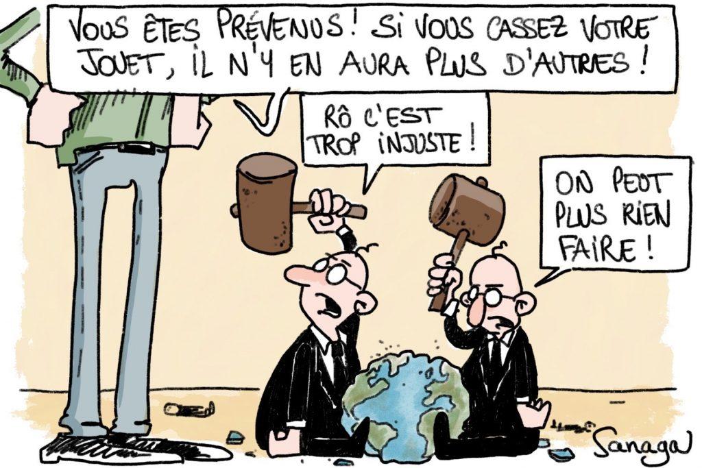 dessin d'actualité de Sanaga sur l'écologie et la pollution de la planète Terre