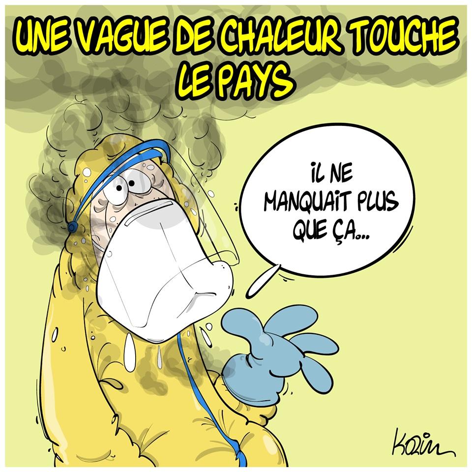 dessin d'actualité humoristique de Karim sur la crise sanitaire et la vague de chaleur sur l'Algérie
