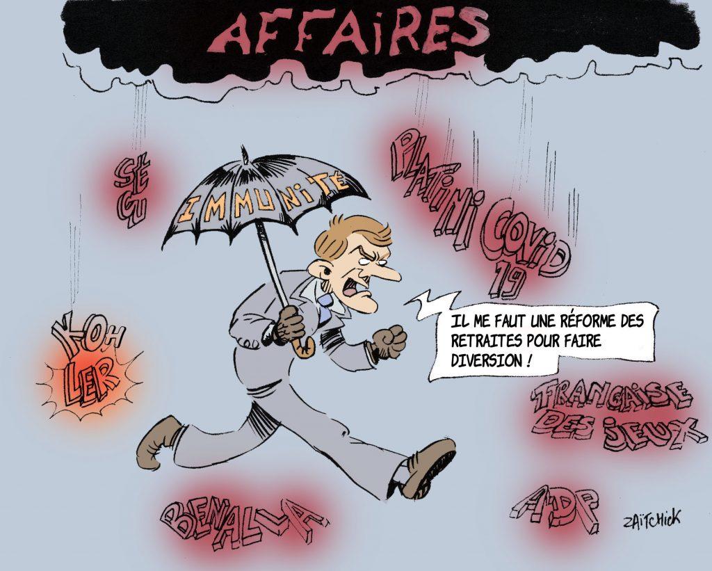 dessin de Zaïtchick sur les affaires pendant le quinquennat d'Emmanuel Macron
