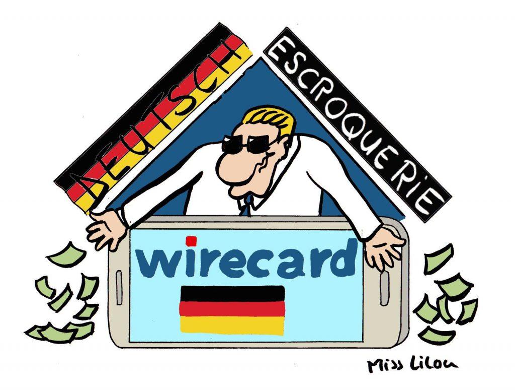 dessin de Miss Lilou sur le scandale financier de l'entreprise allemande Wirecard