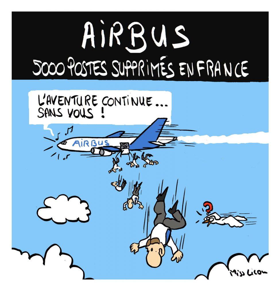 dessin de Miss Lilou sur le plan social chez Airbus