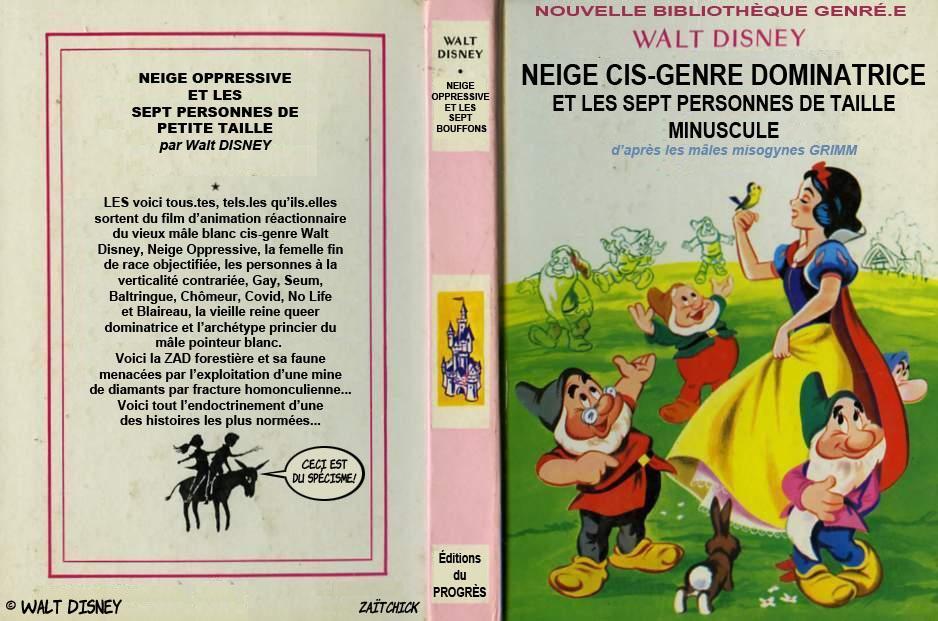 dessin de Zaïtchick sur Blanche Neige et les sept nains version politiquement correcte