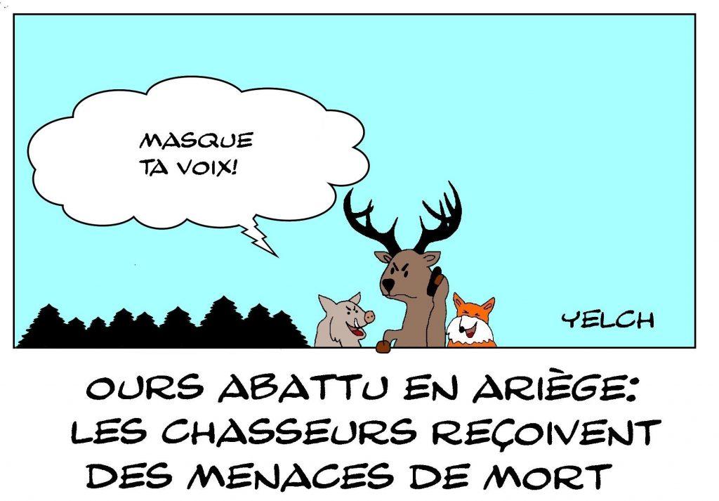 dessin de Yelch sur les menaces reçues par les chasseurs après la mort d'un ours en Ariège