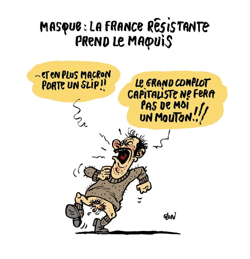 image drôle dessin humour français masque coronavirus