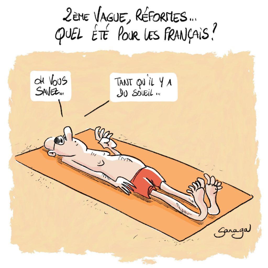 dessin d'actualité de Sanaga sur les vacances des français entre coronavirus et réformes