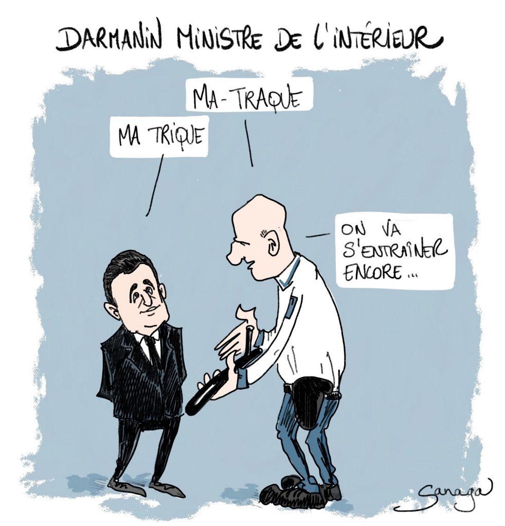 image drôle humour Gérald Darmanin flic sexe matraque ministre