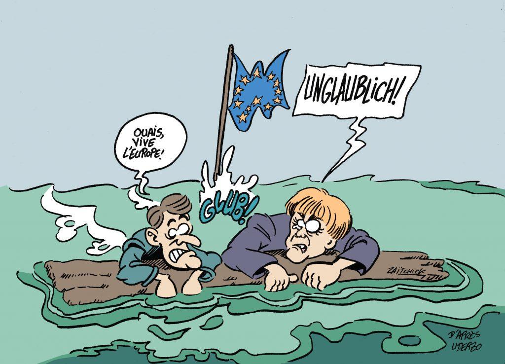dessin drôle image humour emmanuel macron angela merkel europe