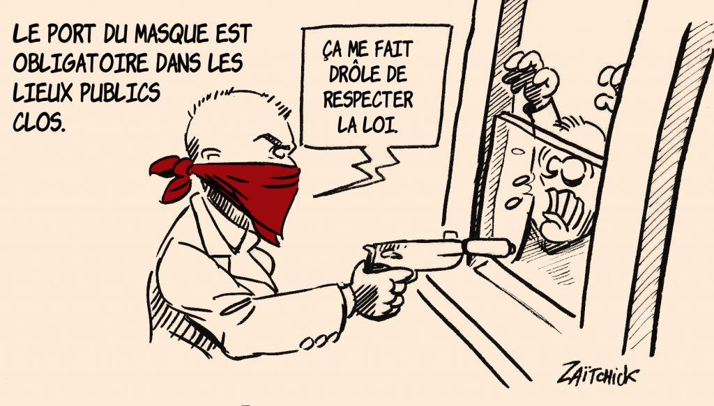 image drôle dessin humour coronavirus covid-19 masque braquage