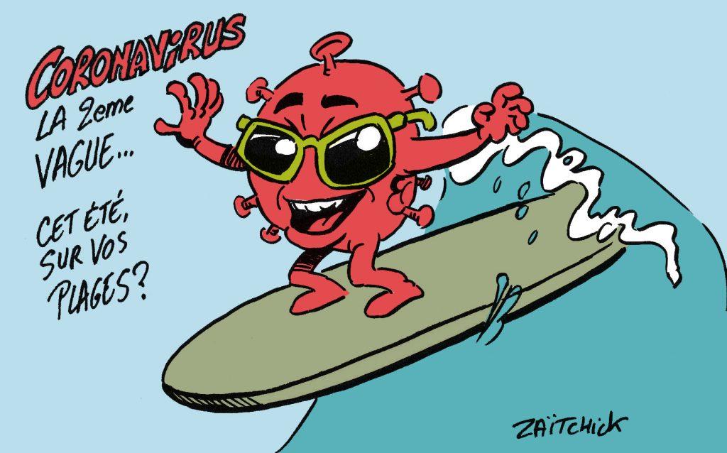 dessin drôle coronavirus image humour été plage deuxième vague rire