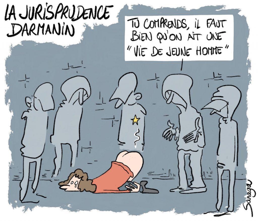 image drôle humour dessin Gérald Darmanin flic sexe viol vie jeune homme racaille