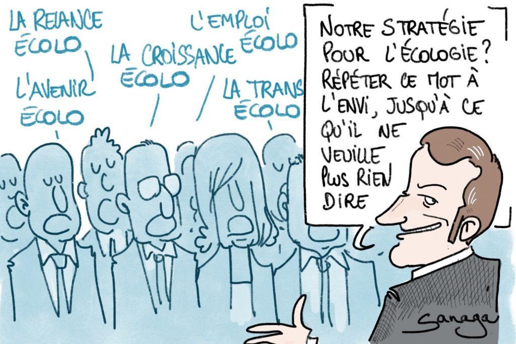 image drôle humour dessin écologie écologiste emmanuel macron stratégie écolos