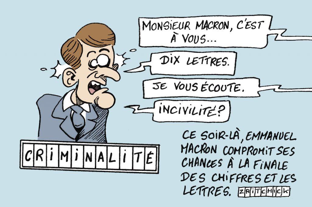 image drôle criminalité dessin humour réchauffement incivilité emmanuel Macron