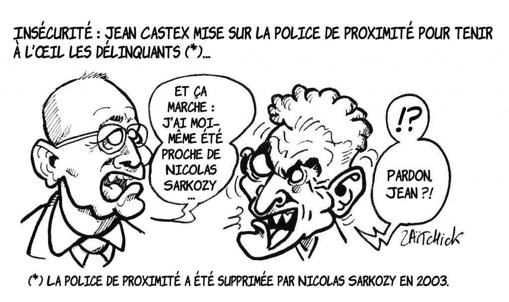 image drôle criminalité dessin humour délinquance police de proximité jean castex