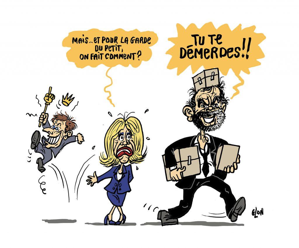 dessin humoristique de Glon sur Emmanuel Macron et le départ d'Édouard Philippe