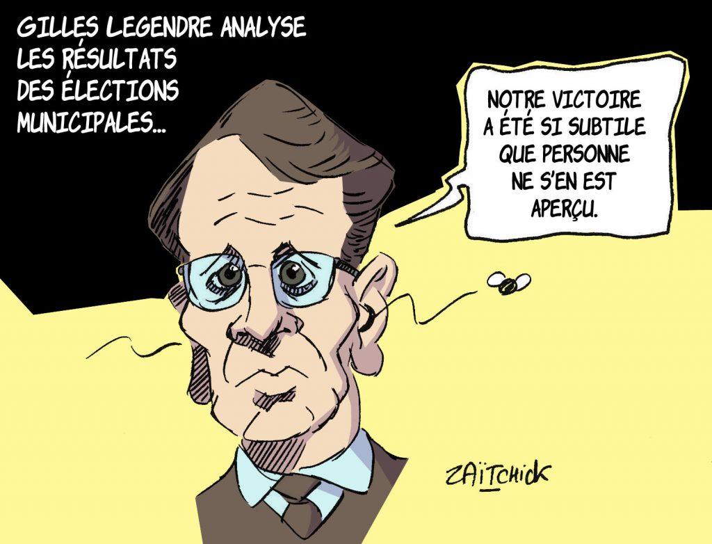 dessin de Zaïtchick sur Gilles Le Gendre et les résultats des élections municipales de 2020