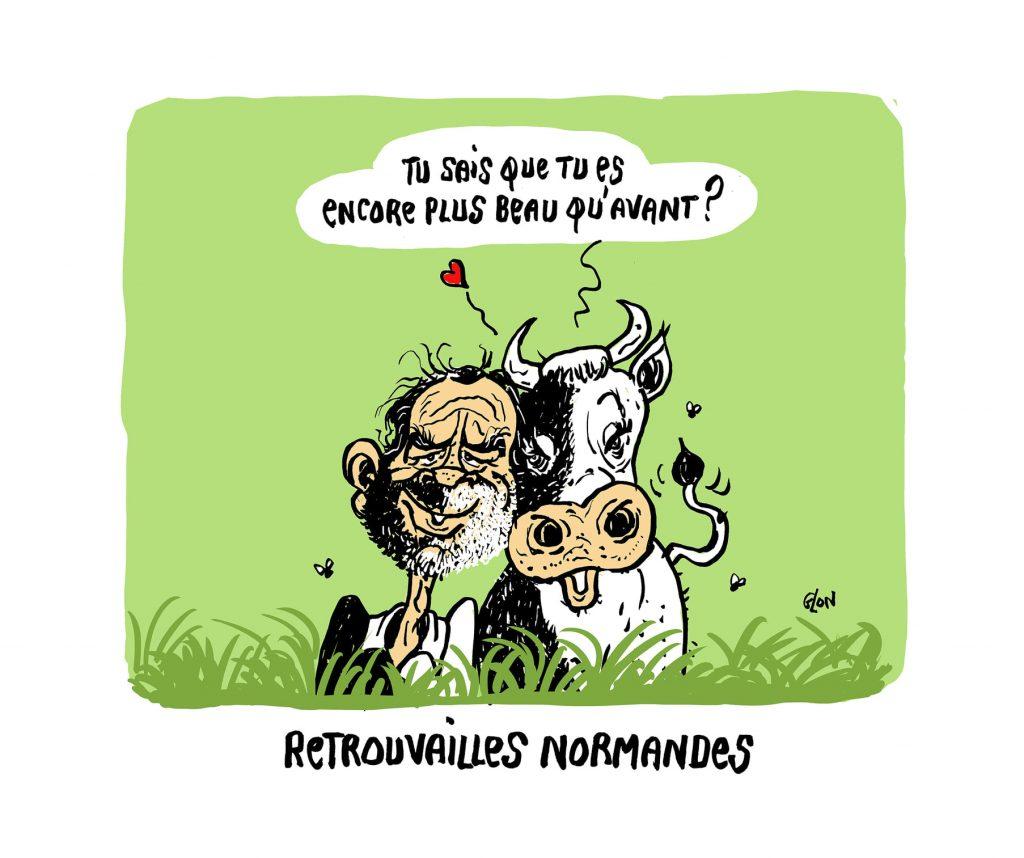 dessin humoristique de Glon sur retour d'Édouard Philippe au Havre