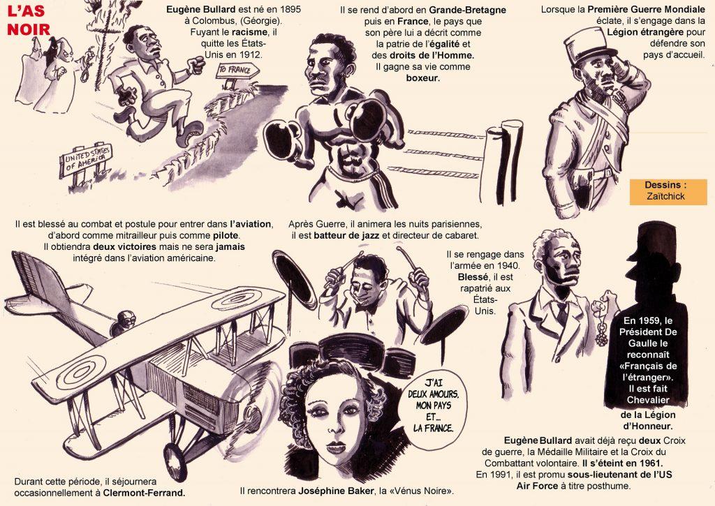 dessin de Zaïtchick sur l'histoire d'Eugène Bullard