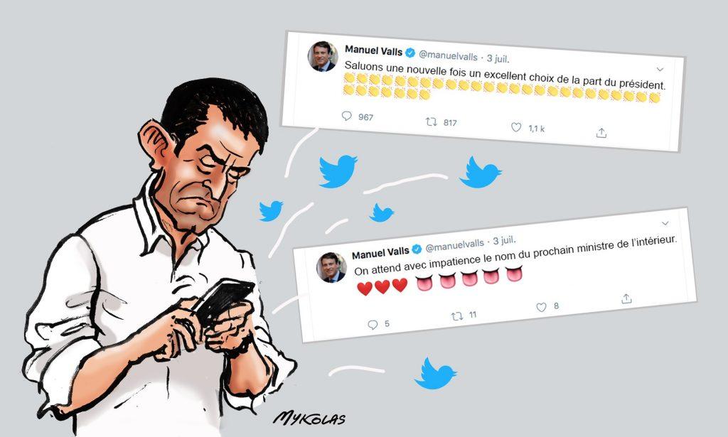 dessin d'actualité humoristique de Mykolas sur Manuel Valls et la composition du nouveau gouvernement de Jean Castex