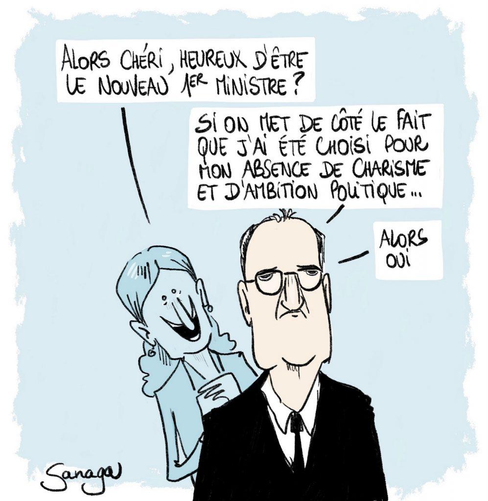 dessin d'actualité de Sanaga sur la nomination de Jean Castex au poste de Premier Ministre