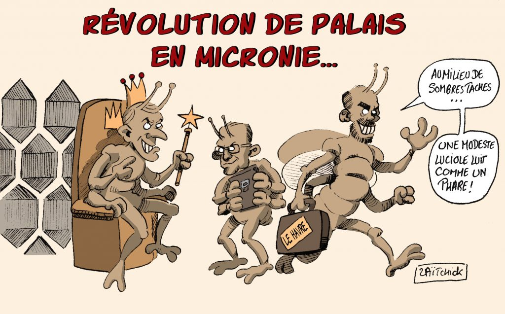 dessin de Zaïtchick sur Emmanuel Macron et le départ d'Édouard Philippe