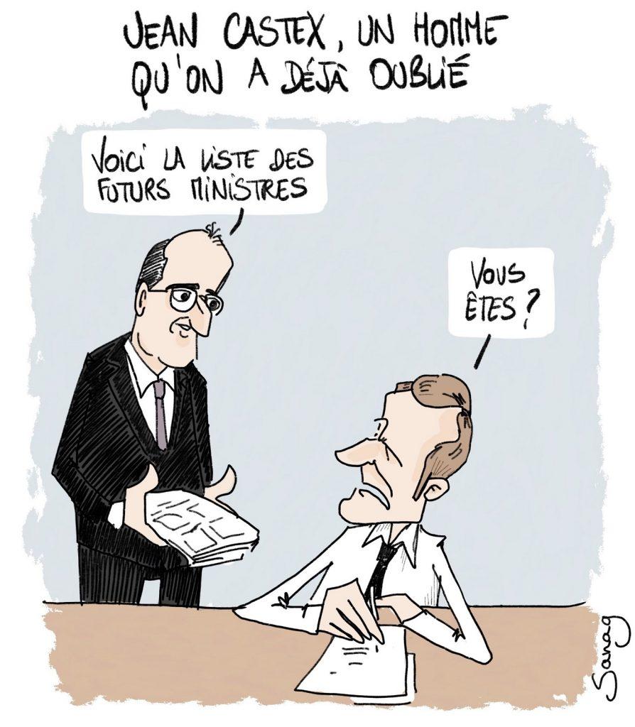 dessin d'actualité de Sanaga sur la nomination de Jean Castex au poste de Premier Ministre d'Emmanuel Macron