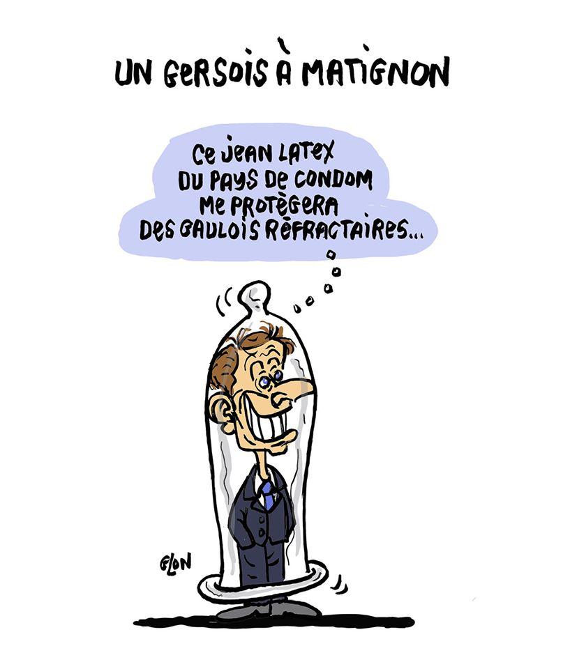 dessin humoristique de Glon sur la nomination de Jean Castex au poste de Premier Ministre d'Emmanuel Macron