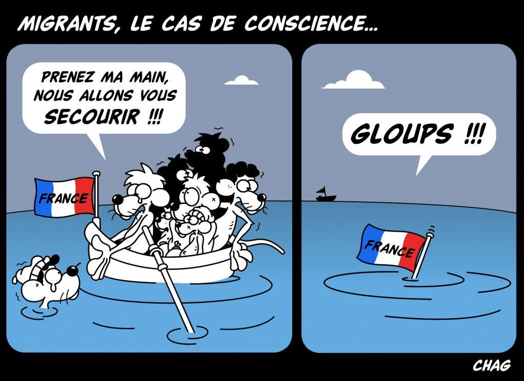 dessin d'humour de Chag sur l'accueil des migrants en France