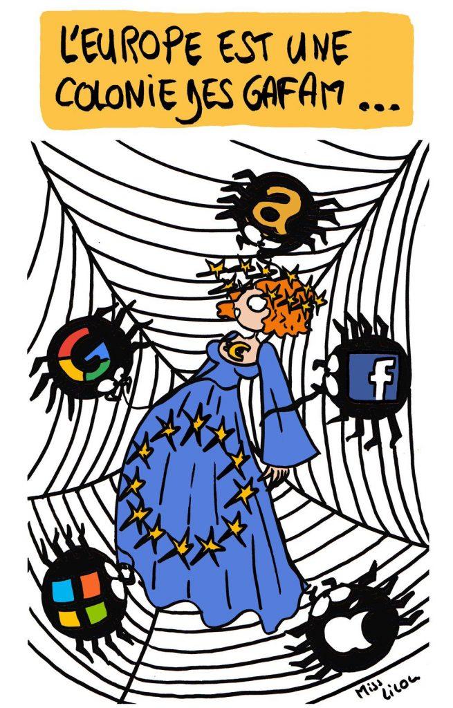 dessin de Miss Lilou sur l'Europe et les GAFAM