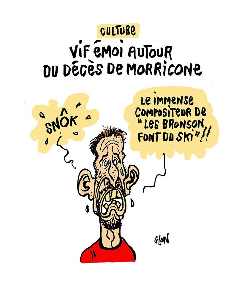 dessin humoristique de Glon sur Franck Ribéry et le décès d'Ennio Morricone