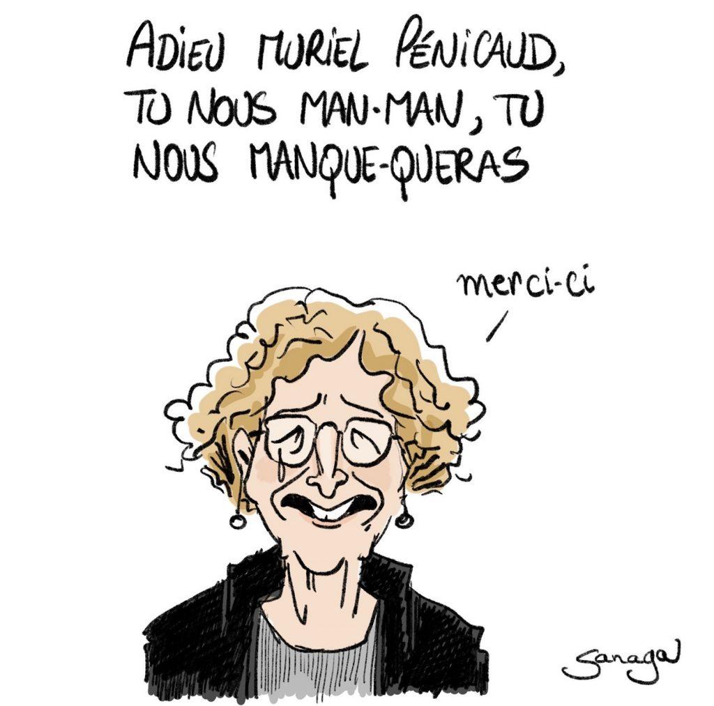 dessin d'actualité de Sanaga sur le départ de Muriel Pénicaud du gouvernement
