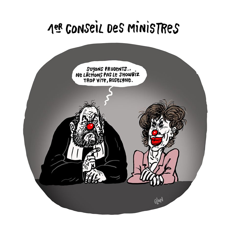 dessin humoristique de Glon sur le premier conseil des ministres d'Éric Dupond-Moretti et Roselyne Bachelot