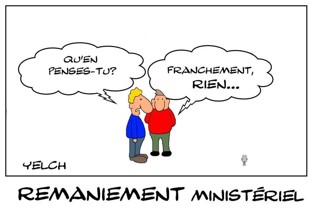dessin de Yelch sur le remaniement ministériel et le nouveau gouvernement Castex
