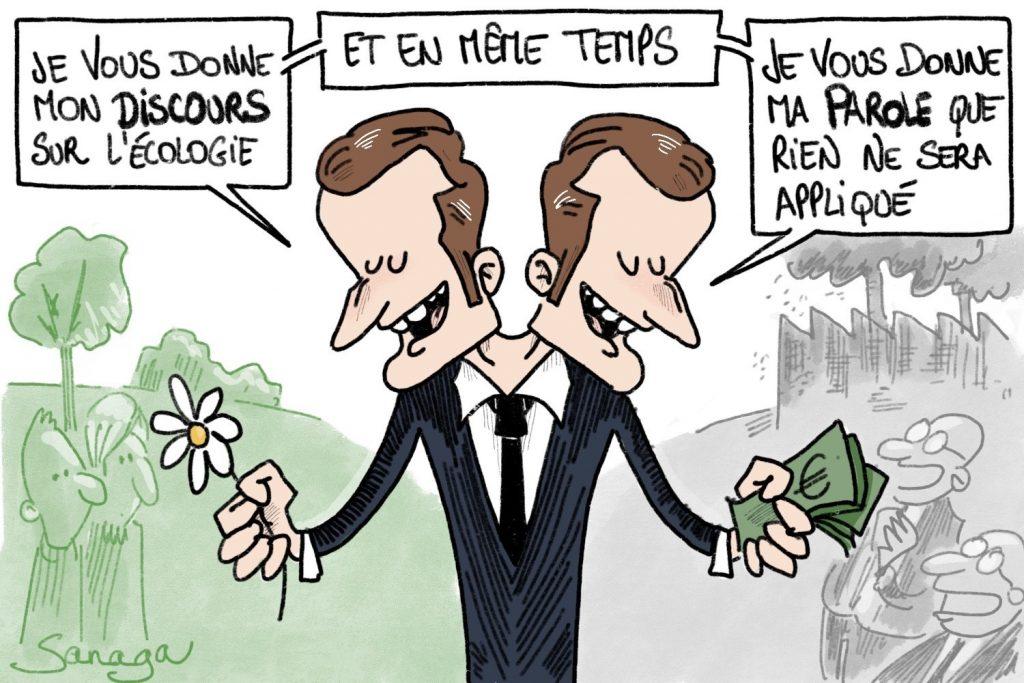 dessin d'actualité de Sanaga sur les incohérences d'Emmanuel Macron sur l'écologie